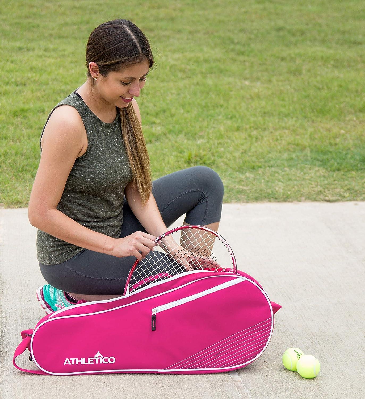Dise/ño Unisex para Hombres Athletico Bolsa de Tenis Acolchada para Proteger Raquetas y Ligera Mujeres J/óvenes y Adultos