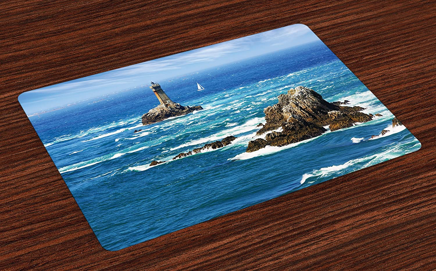 Ambesonne Lighthouse Place Mats Set of 4, Daytime Lighthouse Wavy Ocean View and Clear Sky Rocky Islands Sailboat, Washable Fabric Placemats for Dining Room Kitchen Table Decor, Blue Gray White