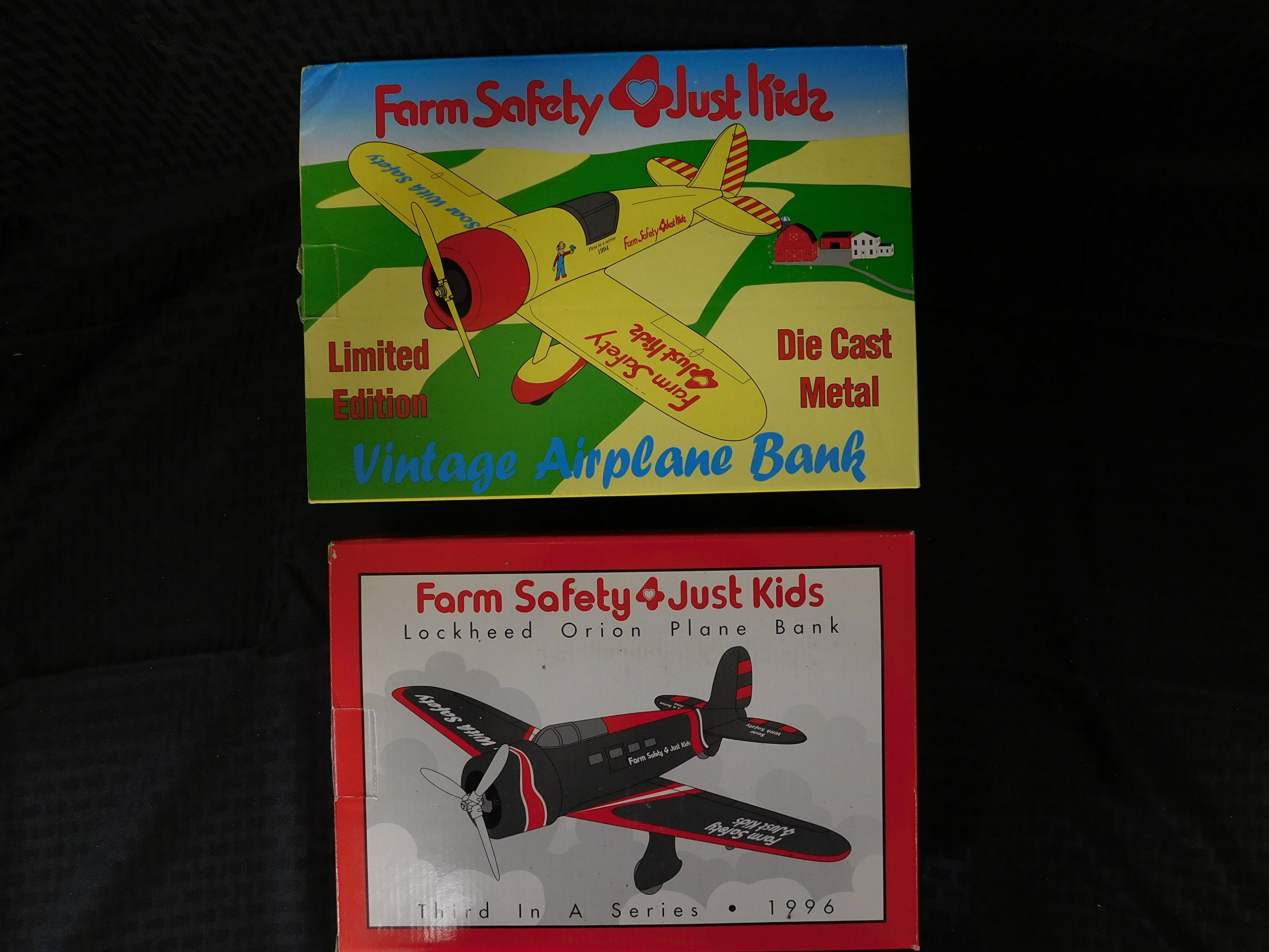 FARM SAFETY 4 JUST KIDS Set of 2 Limited Edition Plane Bank- Vintage Airplane(1992) & Lockheed Orion (1996)