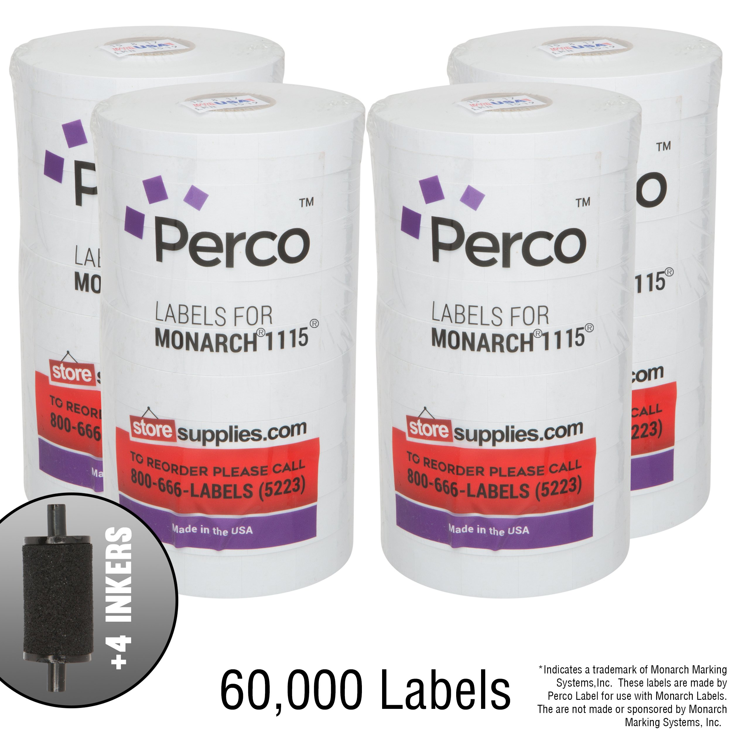 White Pricing Labels for Monarch 1115 Price Gun - 4 Sleeves, 60,000 Pricemarking Labels – with 4 Bonus Ink Roll