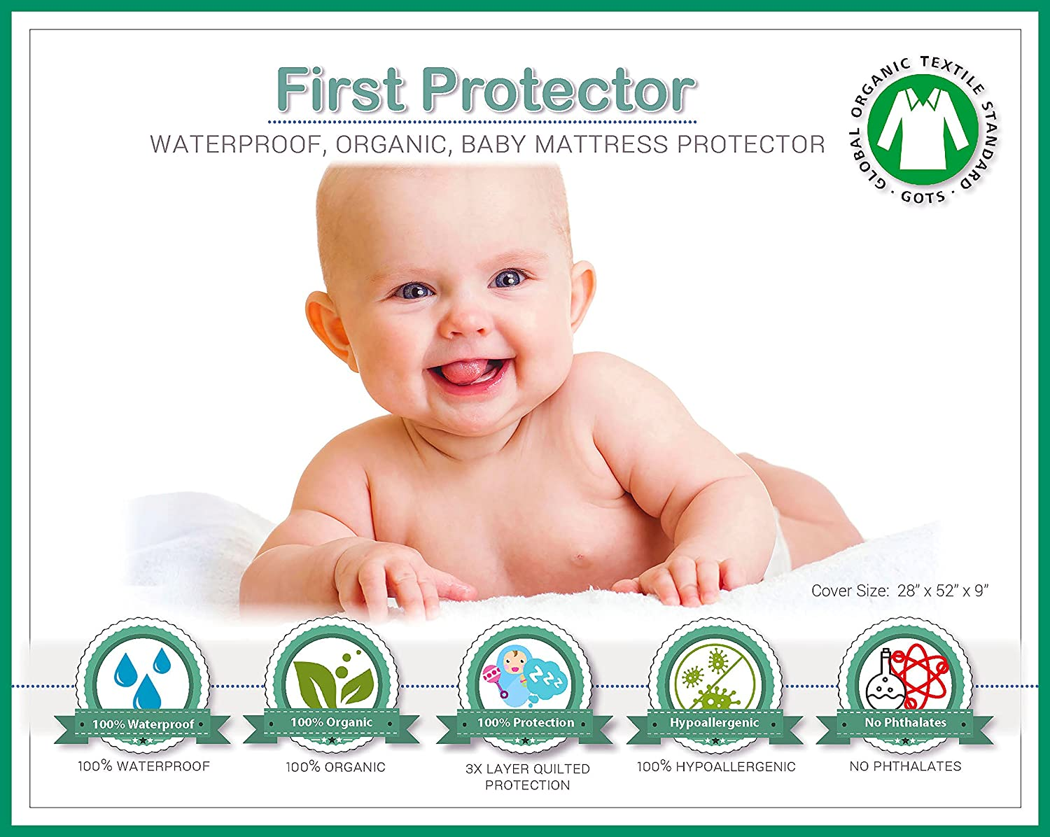 ORGANIC Cotton 100% Waterproof Fitted Crib Protector - Non-Toxic, NO Bamboo Rayon Fiber, Hypoallergenic, Unbleached - Washer/Dryer Friendly (52 x 28 x 9) United States