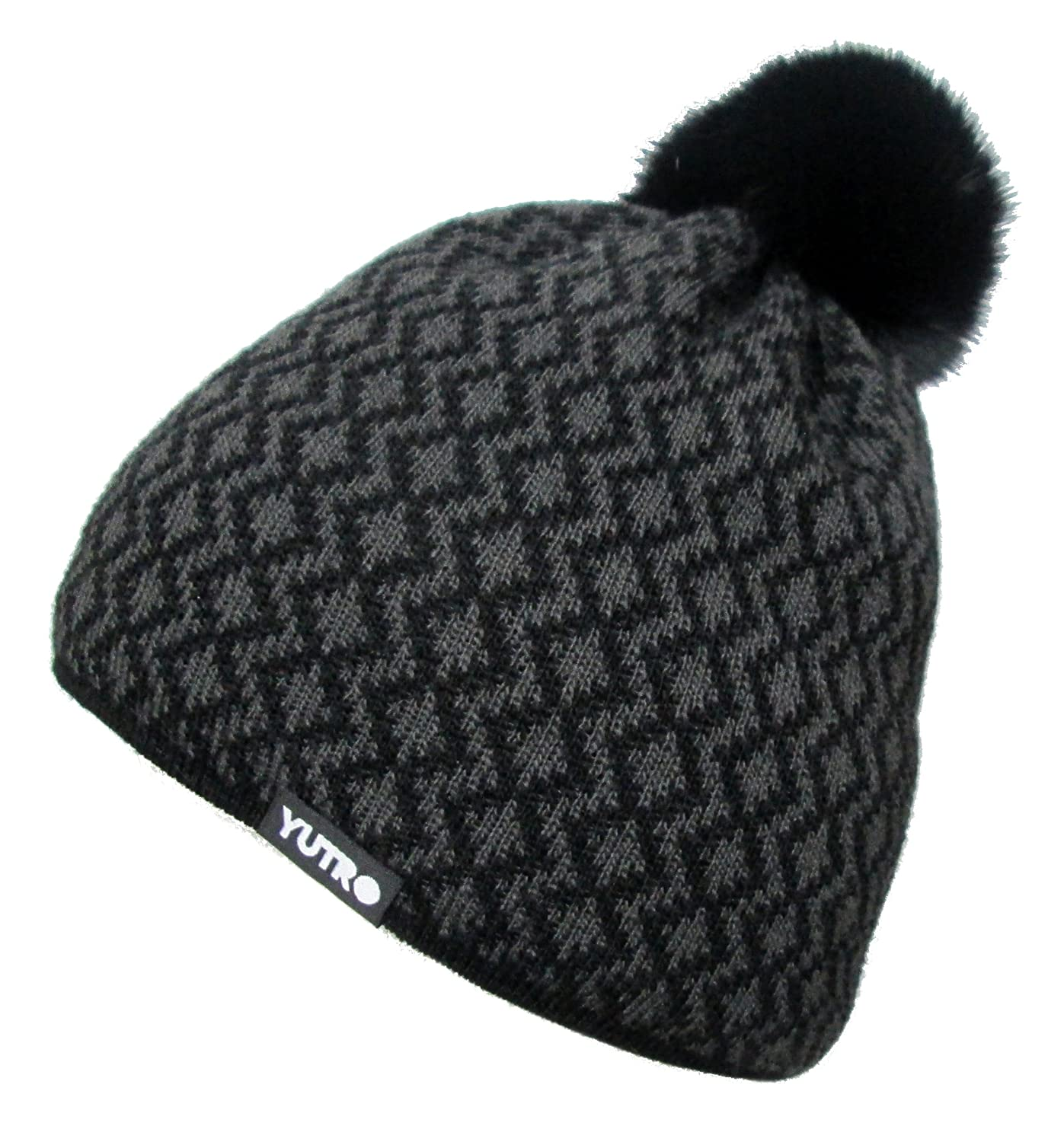 Amazon.com  YUTRO Fashion Wool Thinsulate Fleece Lined Winter Beanie Hat  with Rabbit Pom Black Grey  Clothing d6dbac6e22d9