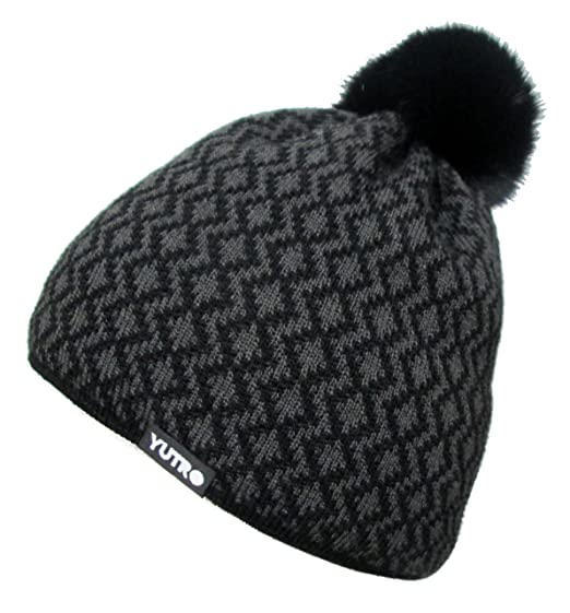 Amazon.com  YUTRO Fashion Women s Wool Thinsulate Fleece Lined Beanie Hat  With Rabbit Pom One Size Black Gray  Clothing 2de22b207c97