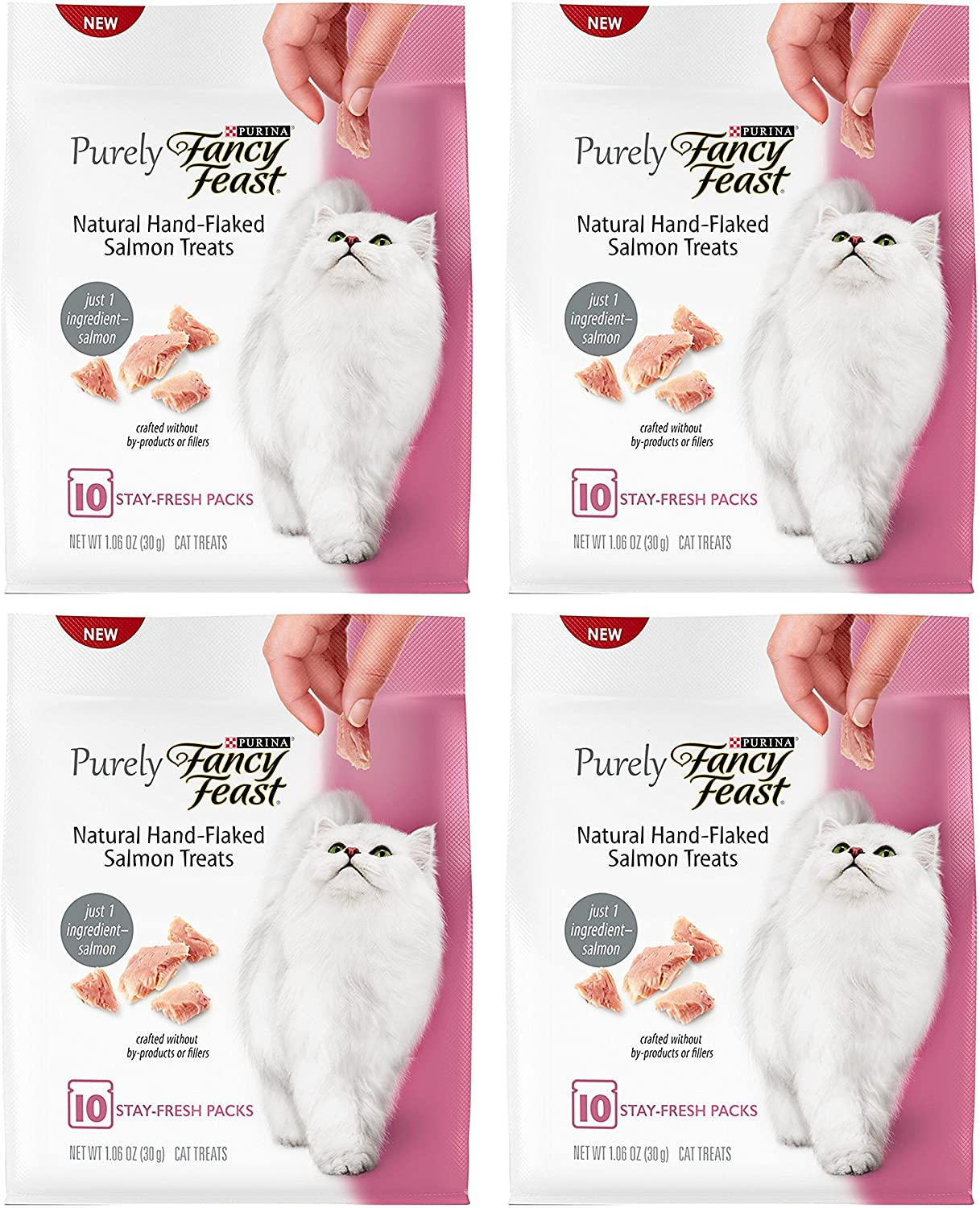 Fancy Feast Cat Treats - Natural Hand-Flaked Salmon Treats - 10 Count Treats Per Pouch - Pack of 4 Pouches