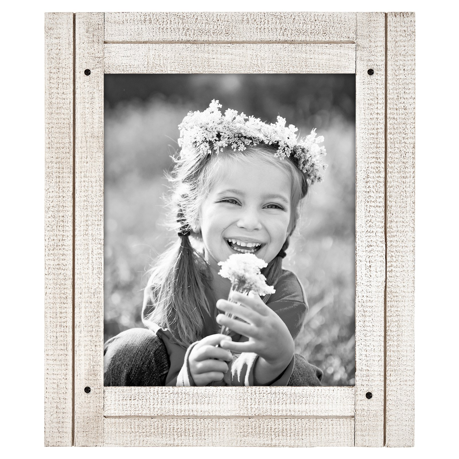 Americanflat 8x10 Aspen White Distressed Wood Frame - Made to Display 8x10 Photos - Ready to Hang - Ready to Stand - Built-in Easel by Americanflat