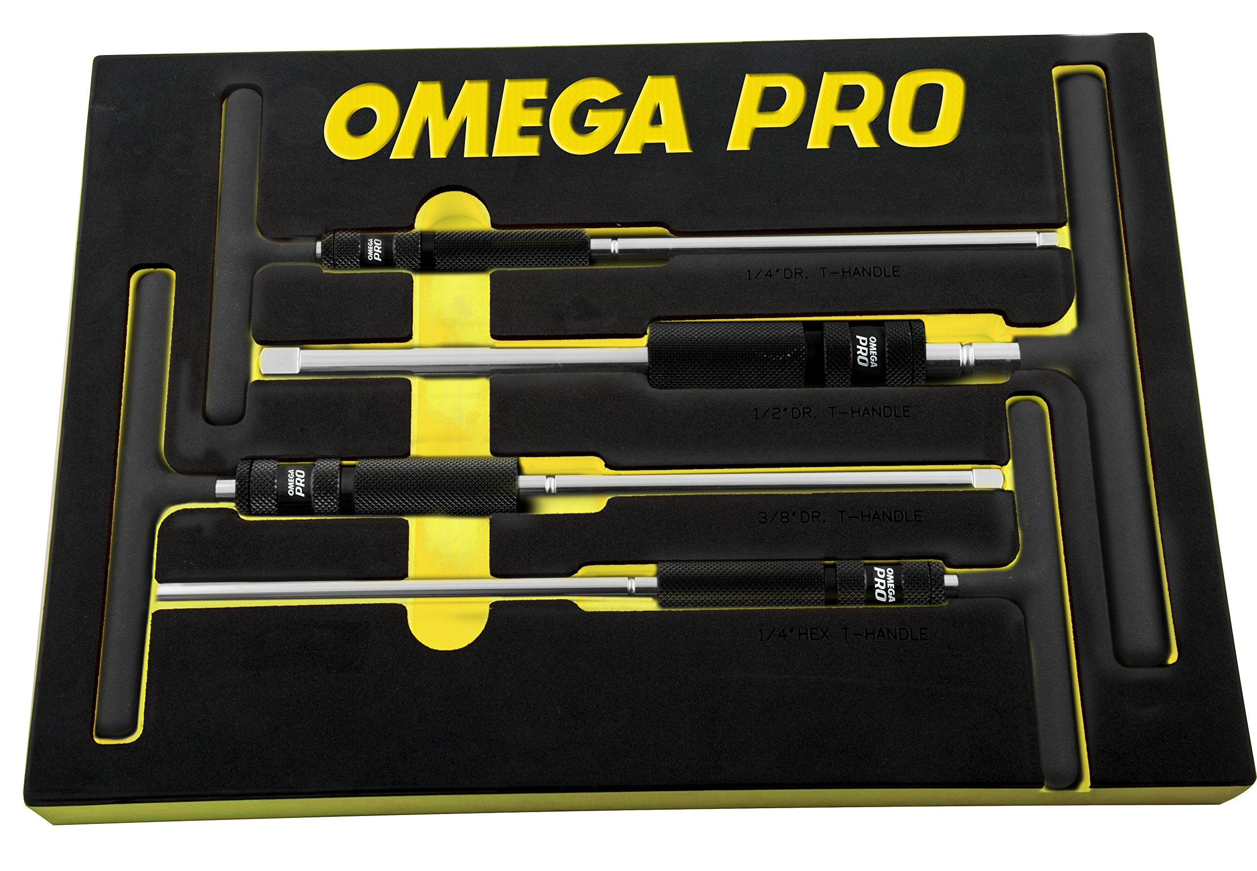 Omega Pro 83024 Pro 4 Piece Adjustable T-Handle Speed Wrench Set, 12.6'' Height, 8.7'' Width, 17.3'' Length