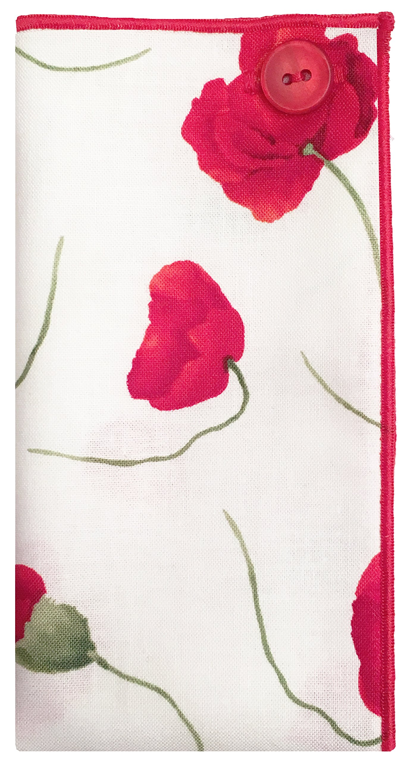 White w/ Red & Green Flower w/ Red Button Mens Pocket Square The Detailed Male