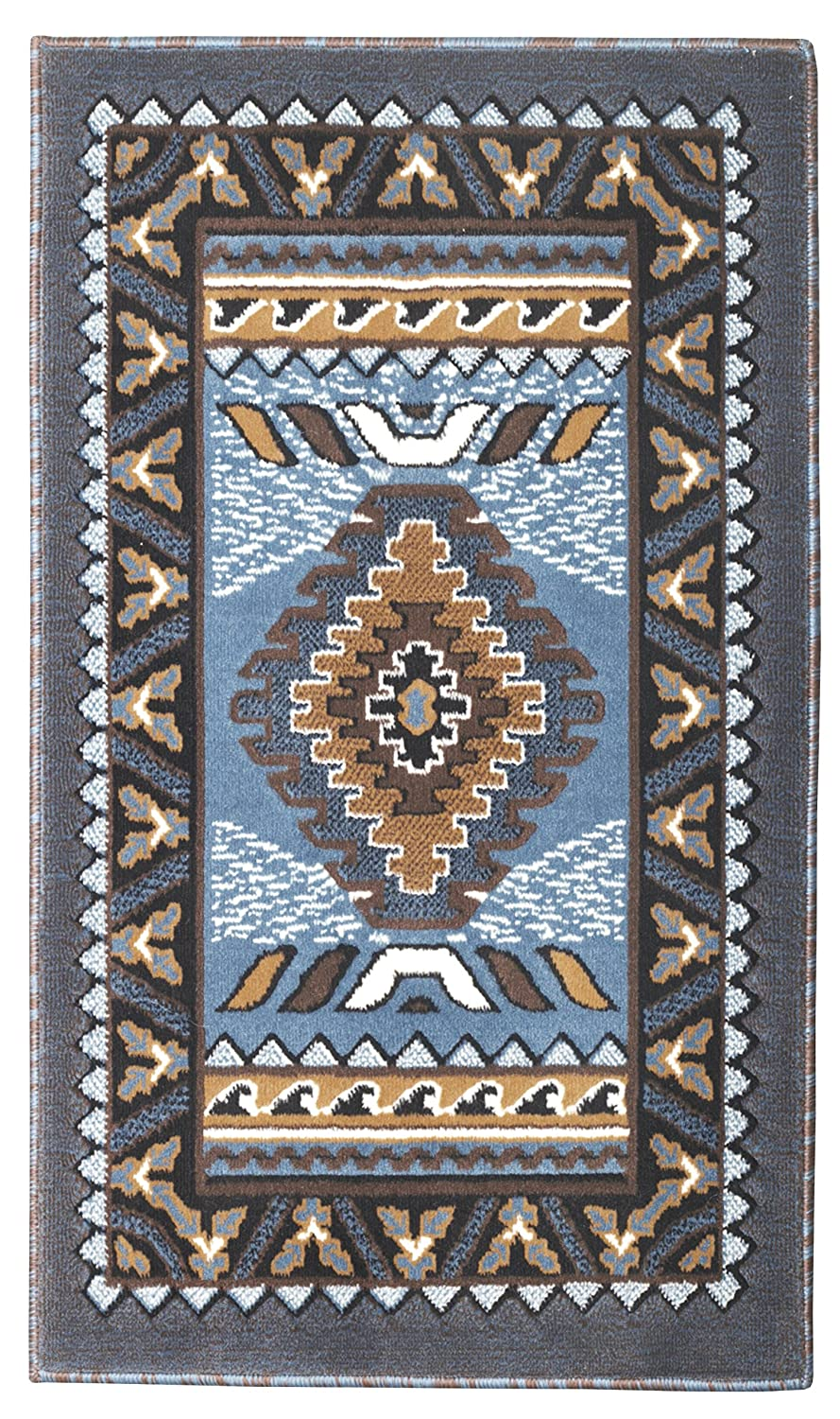 Rugs 4 Less Collection Southwest Native American Indian Door Mat Area Rug Design R4L 143 Light Blue (2