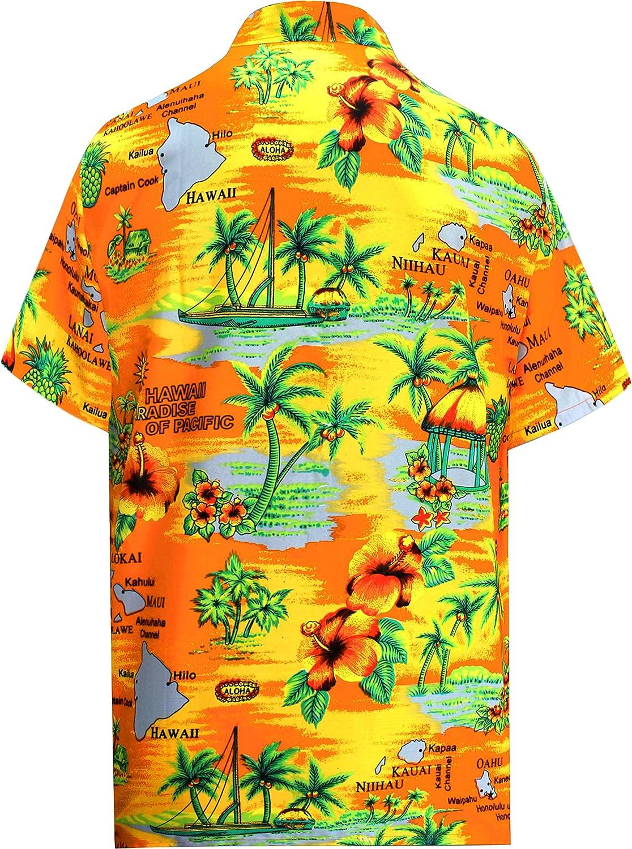 LA LEELA Spiaggia degli Uomini Pulsante Camicia Hawaiana Gi/ù