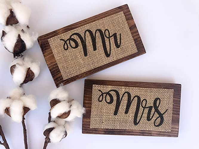 Amazon SET OF 2 6x35 Mr Mrs Burlap Print On Wood Plaque