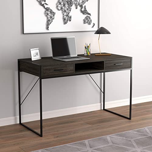 Safdie Co. Writing Computer Table/Gaming Office Desk Grey Wood - the best modern office desk for the money
