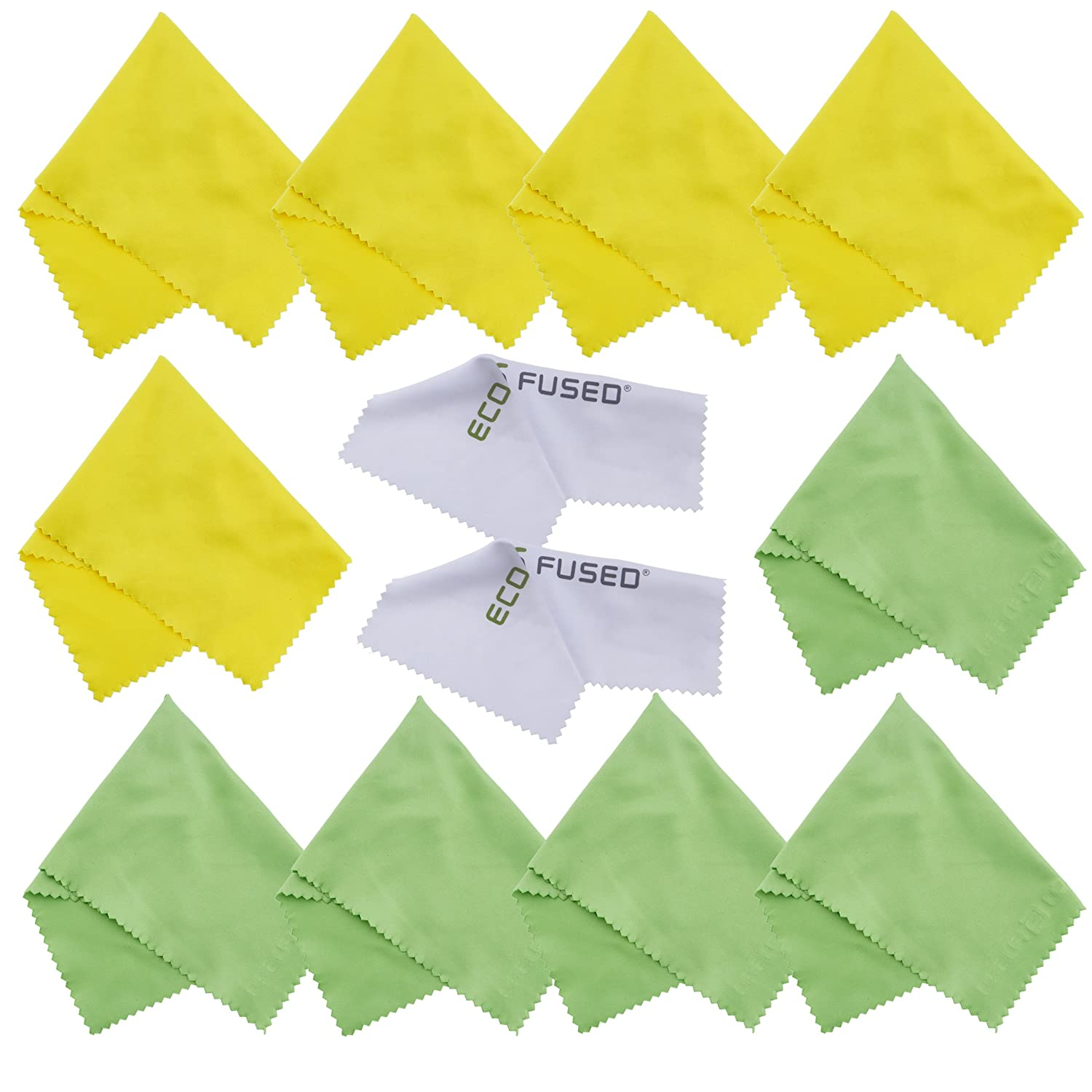 Microfiber Cleaning Cloths - 10 Colorful Cloths and 2 White ECO-FUSED Cloths - Ideal for Cleaning Glasses, Spectacles, Camera Lenses, iPad, Tablets, Phones, iPhone, Android Phones, LCD Screens and Other Delicate Surfaces (Yellow/Green) … ECO-FUSED®