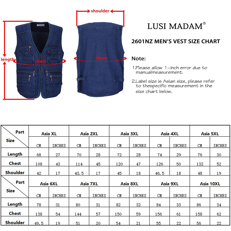 LUSI MADAM Mens Denim Pockets Leisure Outdoor Fishing Waistcoats