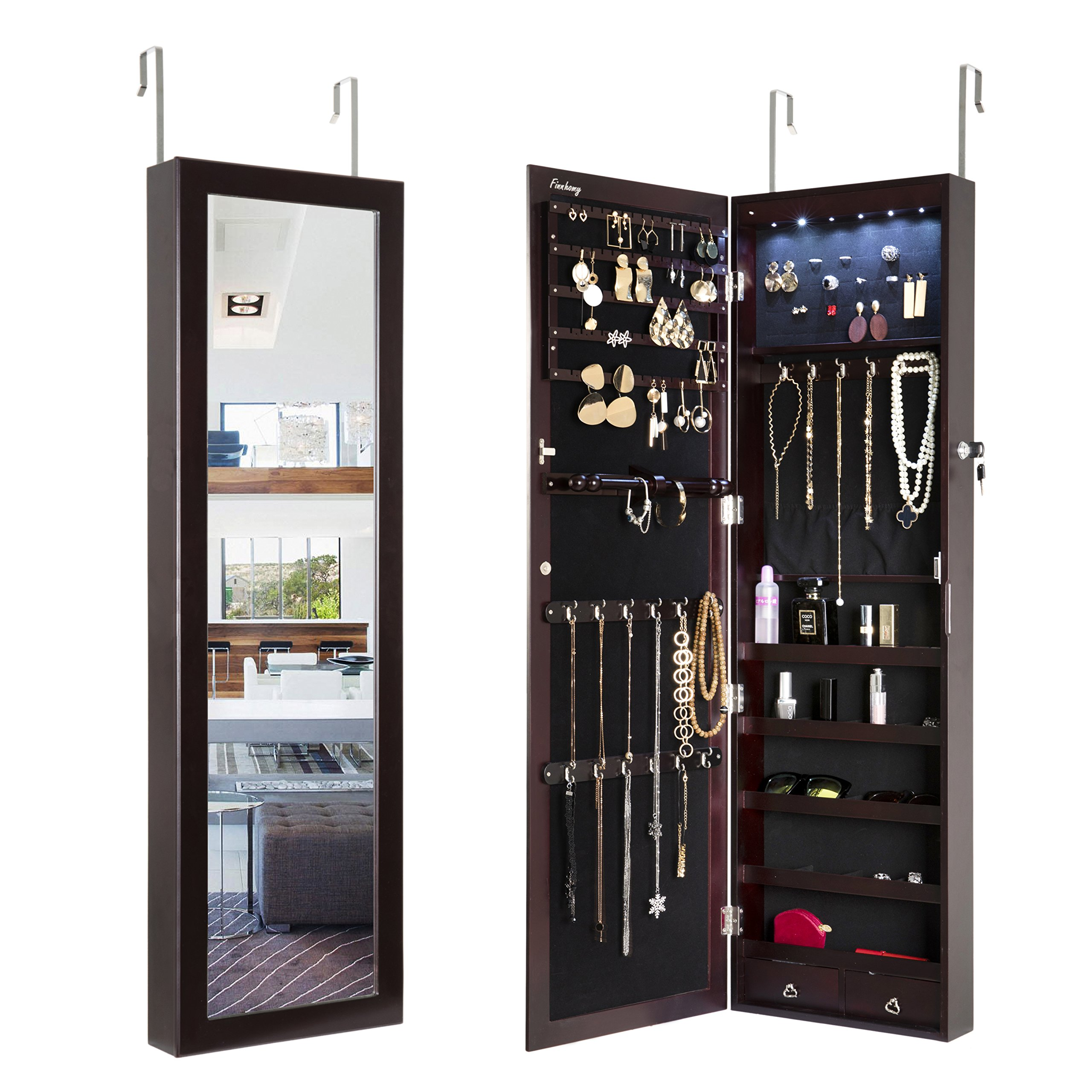 FINNHOMY Over The Door Mounted Lockable Mirrored Jewelry Armoire Storage Organizer Makeup Cabinet Holder with LED Light for Ring Necklace Earring Cosmetic Broach Bracelet Brown