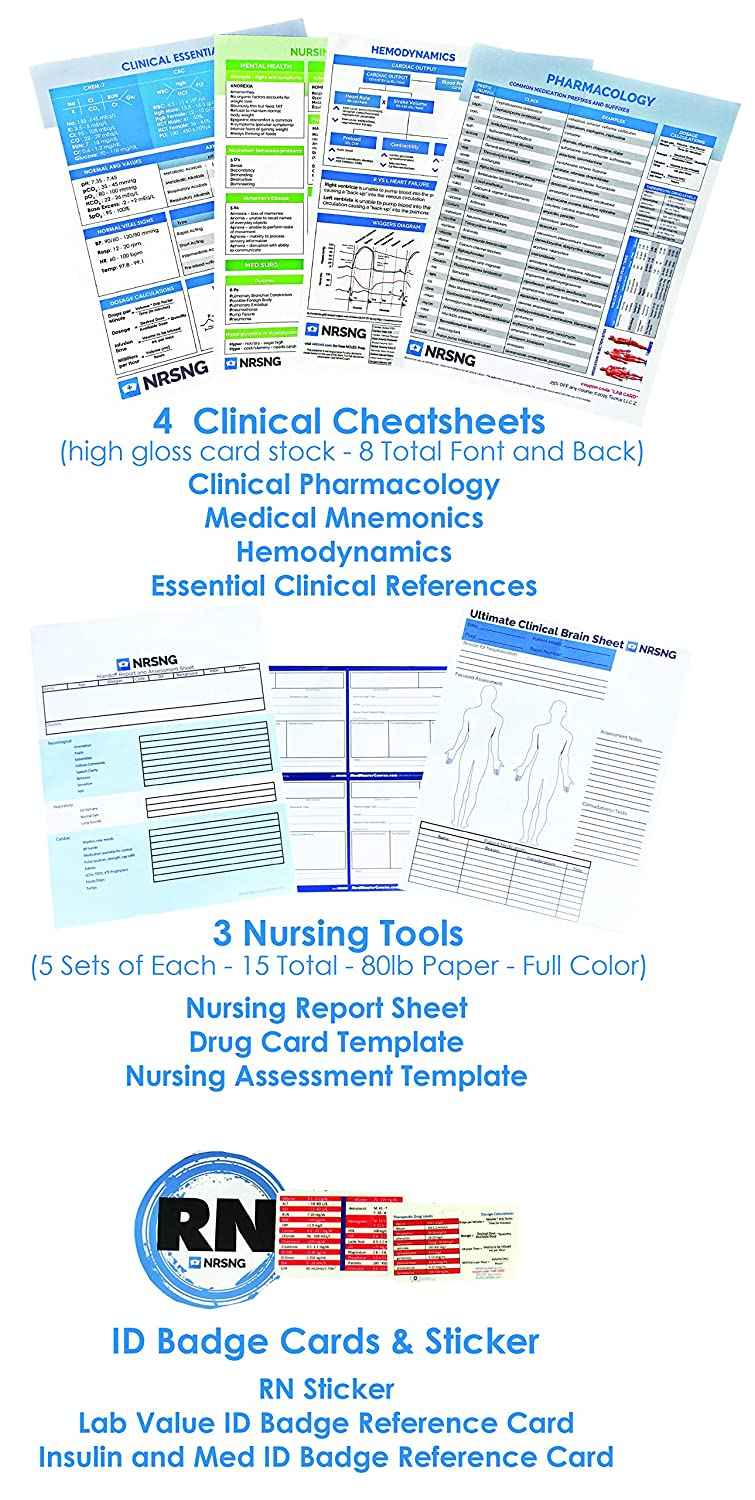 Amazon nursing student tool box gift for nursing students amazon nursing student tool box gift for nursing students nursing student kit 4 nclex cheat sheets 2 lab cards drug cards mnemonics pronofoot35fo Image collections