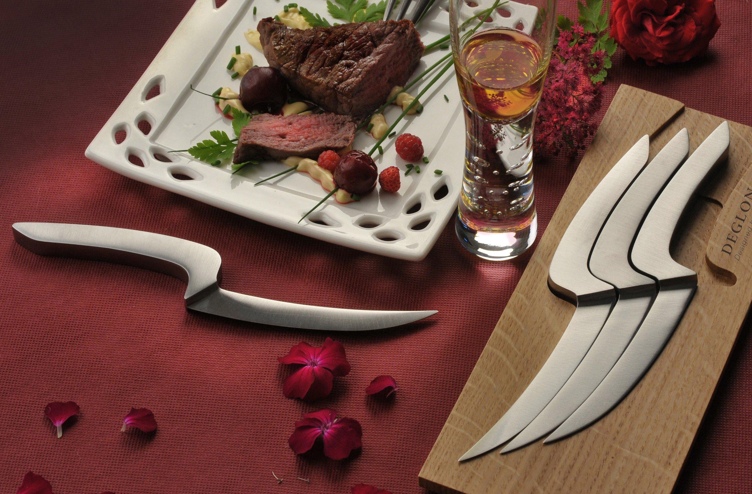 Deglon 4-Piece Oak Base Meeting Steak Knives Set