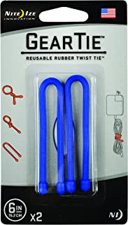 product image for Nite Ize Original Gear Tie, Reusable Rubber Twist Tie, 6-Inch, Blue, 2 Pack, Made in the USA