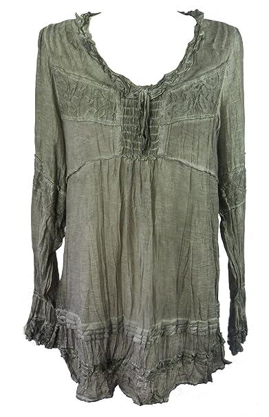 Vintage Tie Dye Túnica - Vestido de campesino Seda Blusa ...