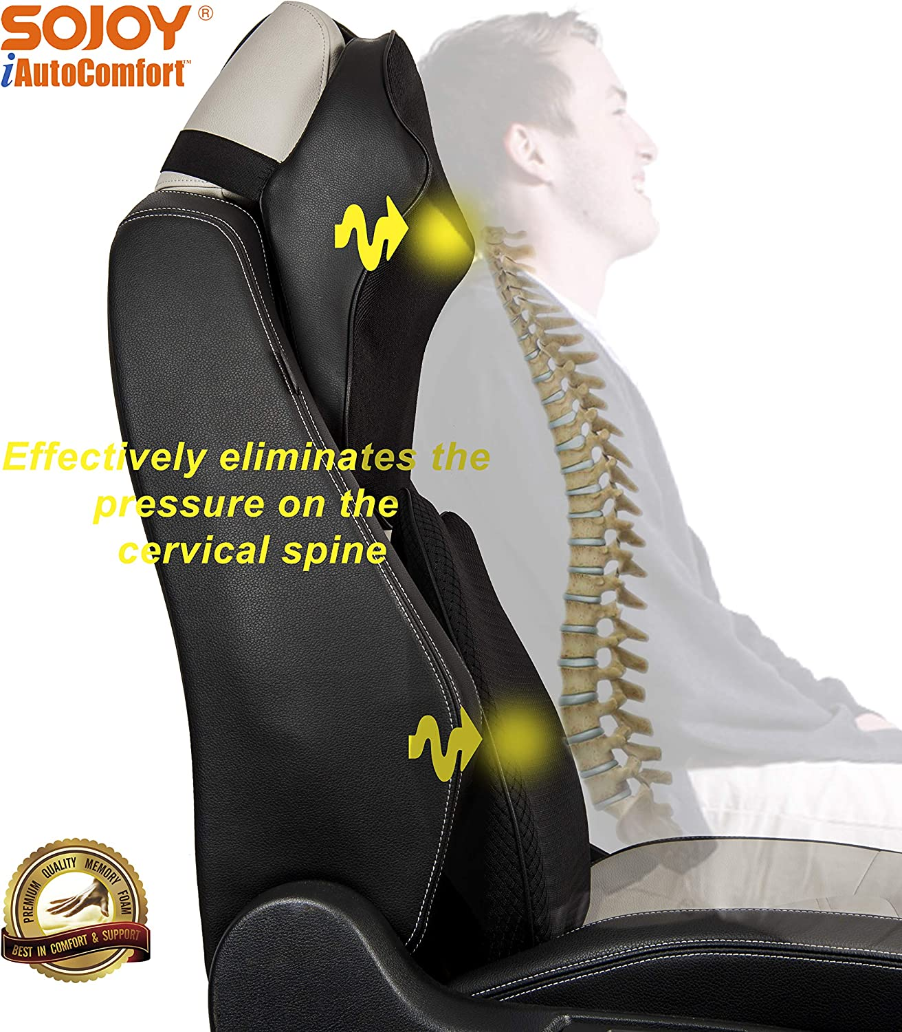Sojoy Patented Universal Ergonomic Streamlining Car Seat//Cushion Lumbar and Neck Support 17x12x5