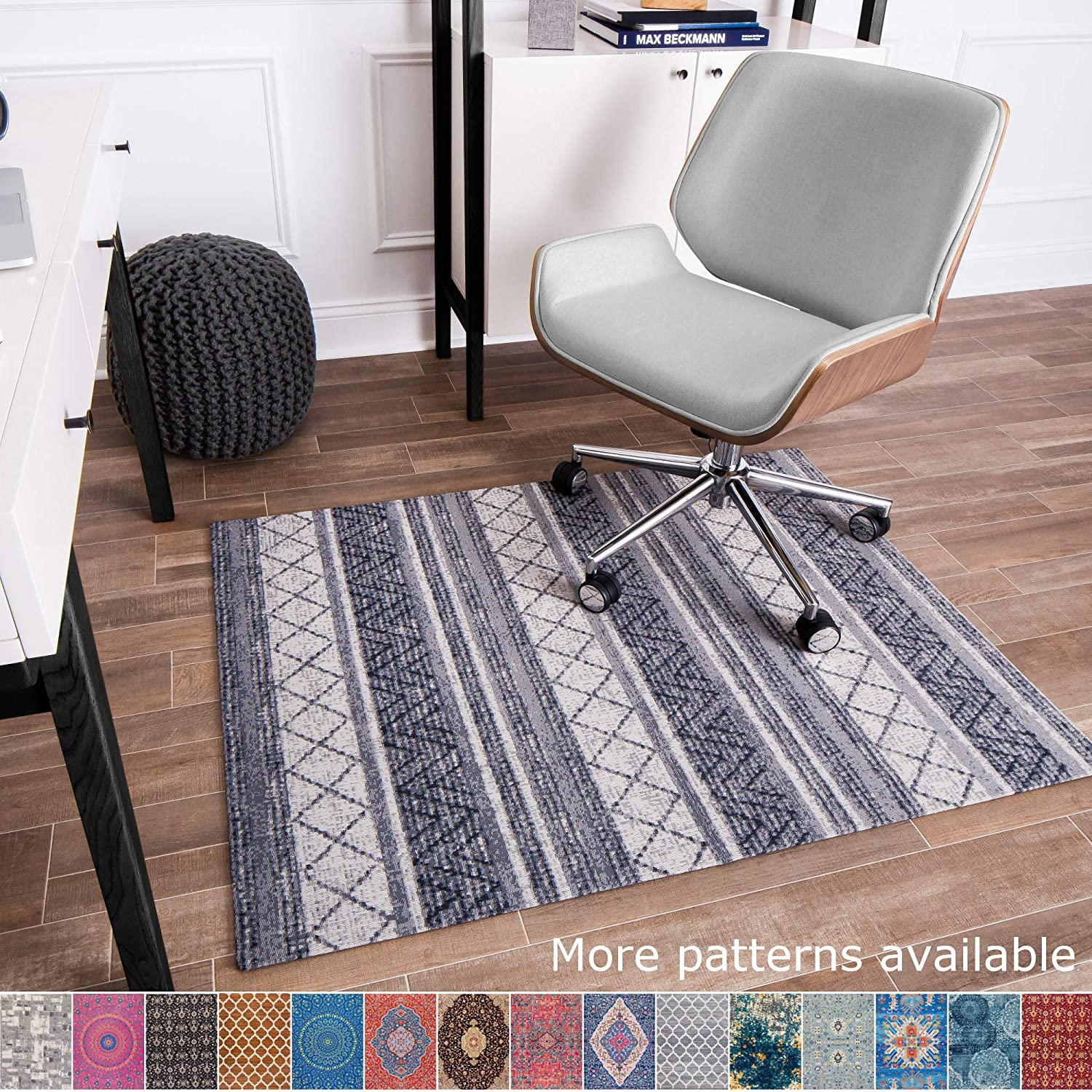 """Anji Mountain Chair Mat Rug'd Collection, 1/4"""" Thick - For Low Pile Carpets & Hard Surfaces, Alesund AMB9013, Gray Tone Tribal Stripes"""