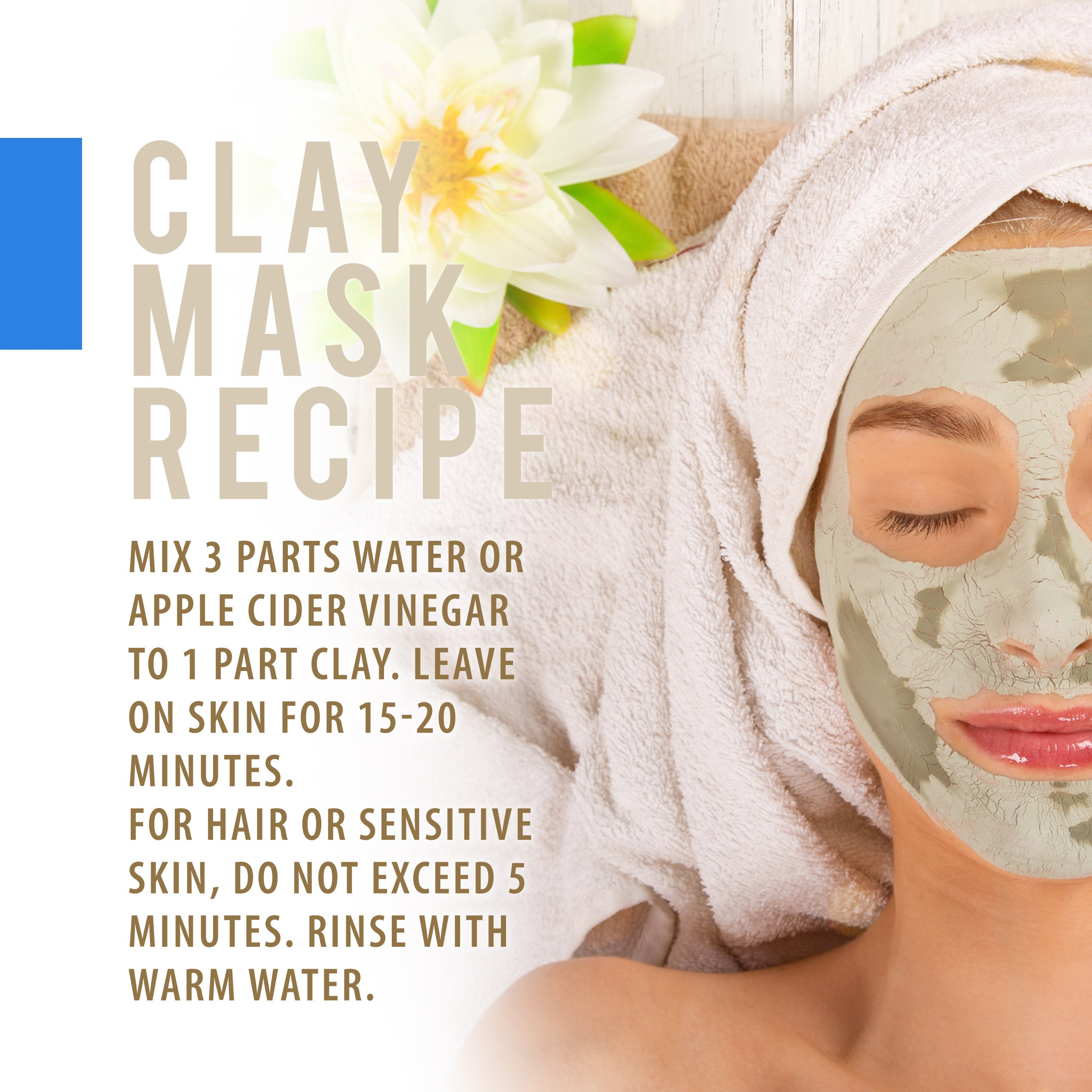 Food Grade Calcium Bentonite Clay - 2 LB Bentonite Montmorillonite Powder - Safe to Ingest for The Ultimate Internal Detox or Make a Clay Face Mask for The Best Natural Skin Healing Powder by Aspen Naturals® (Image #4)