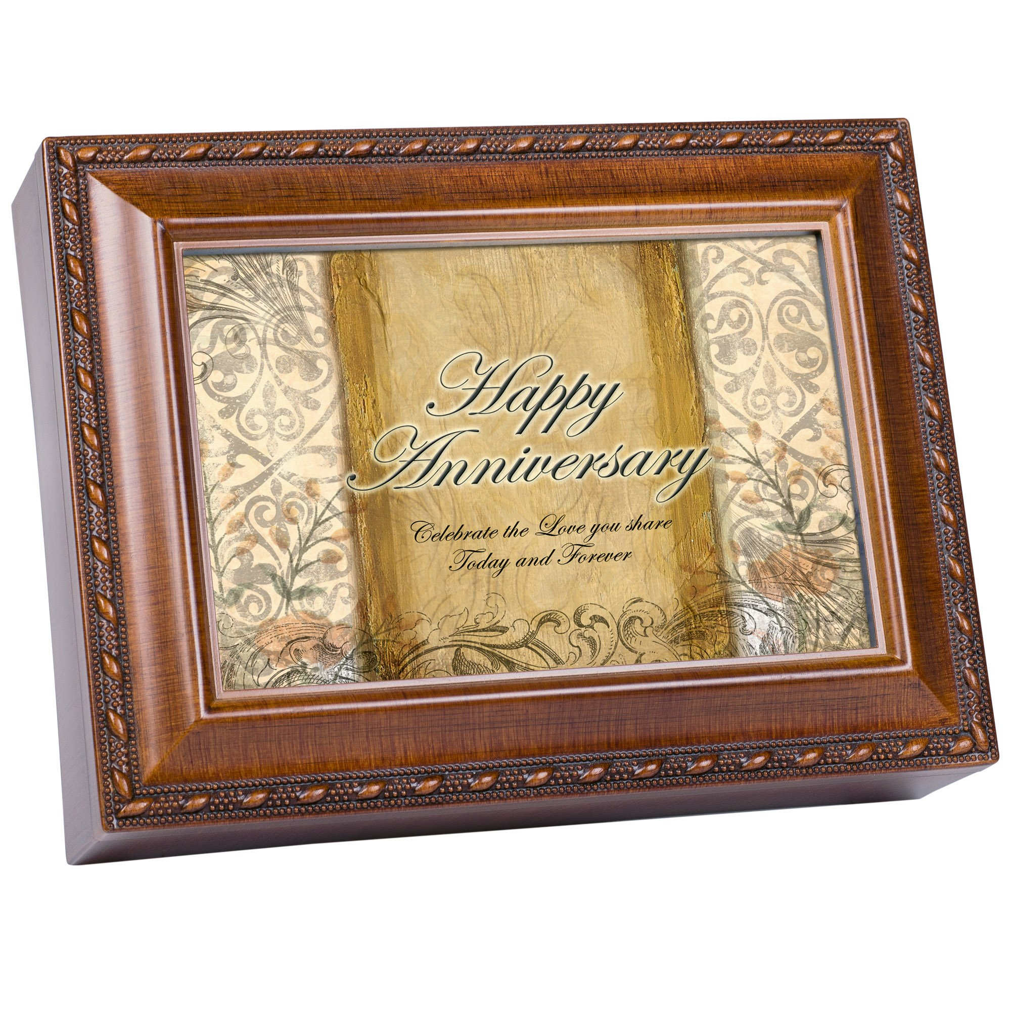 Cottage Garden Happy Anniversary Woodgrain Rope Trim Music Box Plays Unchained Melody