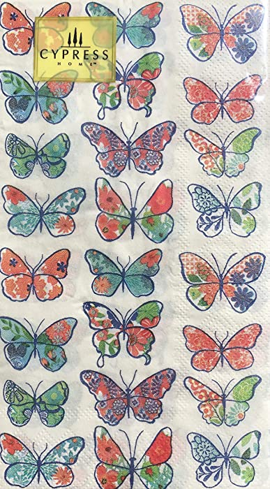 Cypress Home Butterfly Guest Towels Buffet Paper Napkins, 32 ct