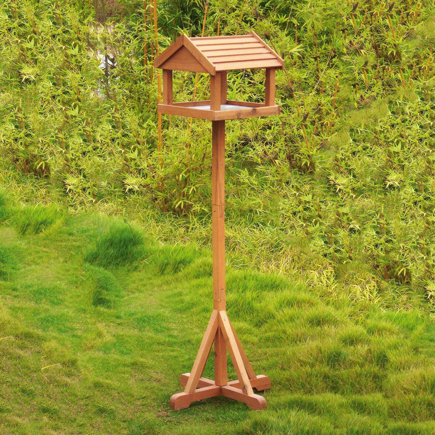 Parkland® Traditional Deluxe Wooden Bird Table Garden Birds Feeder Feeding  Station Free Standing