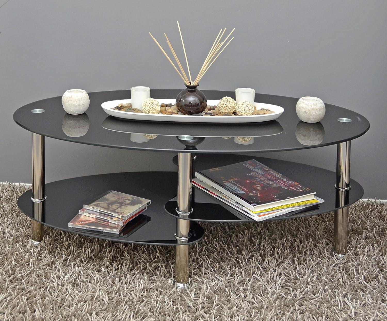 Couchtisch Oval Schwarz ~ Amazon ts ideen glastisch beistelltisch schwarz couchtisch