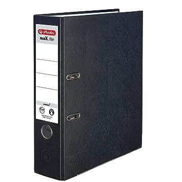 Herlitz 9942699 -Archivador A4 8 cm papel recicladocolor negro (Pack de 5): Amazon.es: Oficina y papelería