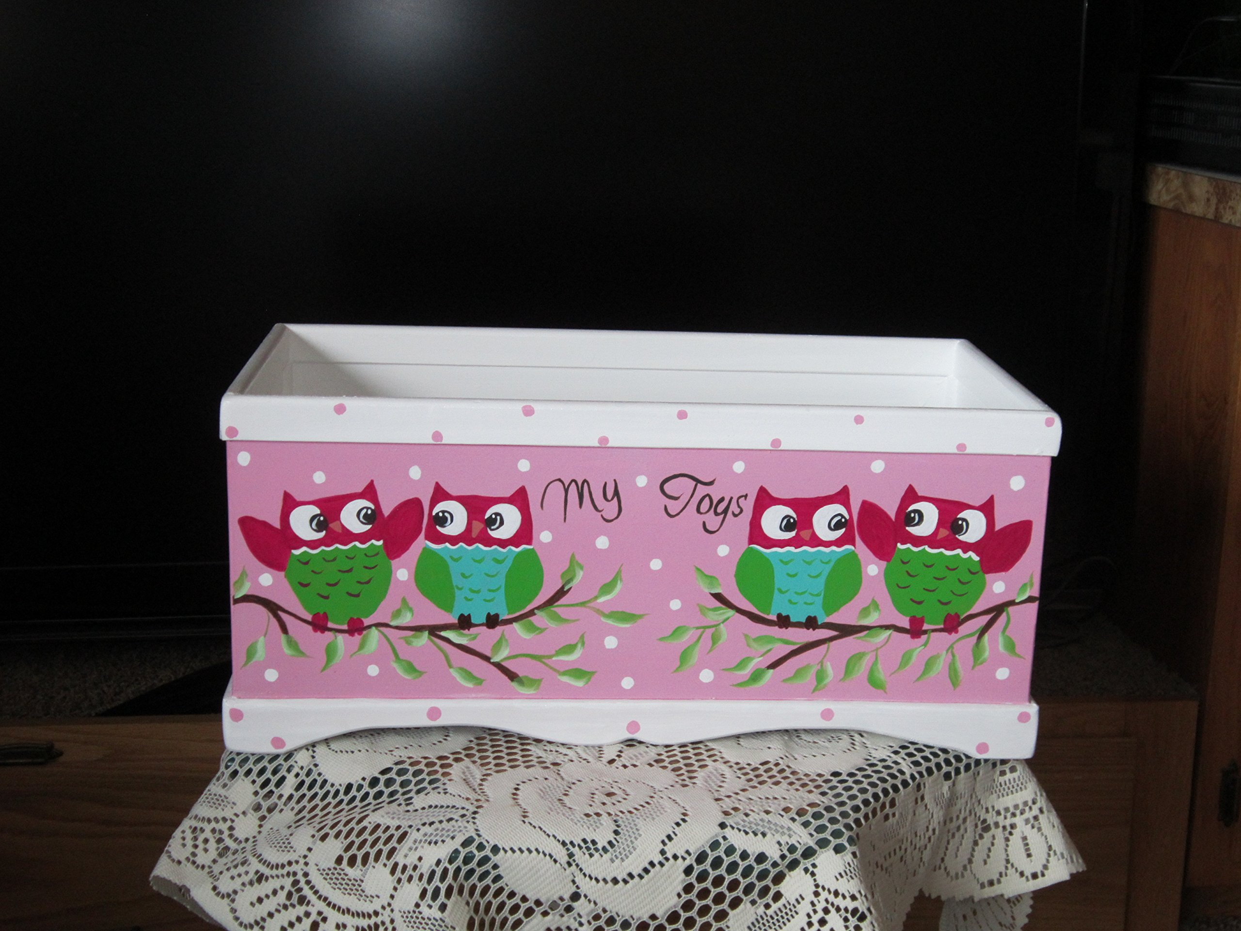 Little girls toy box,Handmade and Hand Painted .'' My Toys'' with cute little Owls painted on the front.