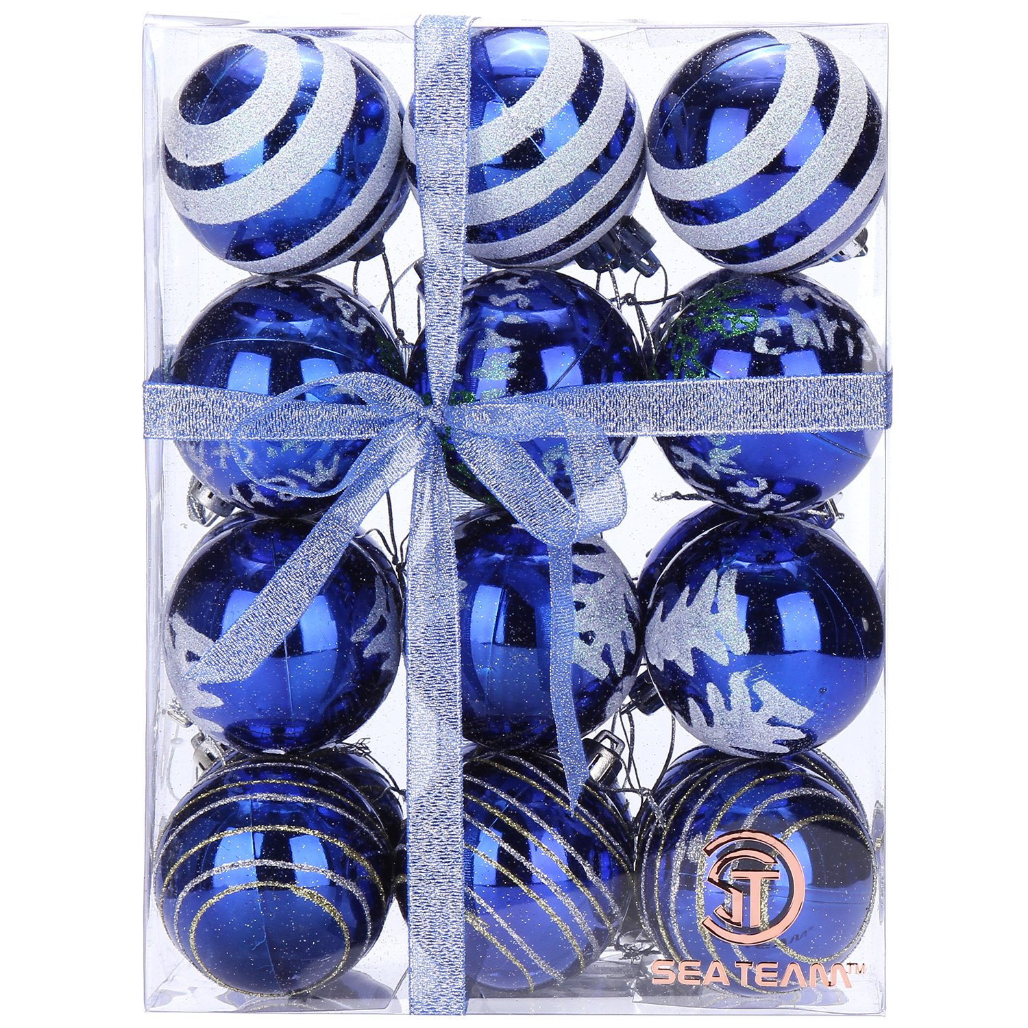 Sea Team 60mm/2.36 Delicate Painting and Glittering Shatterproof Christmas Balls Decorative Hanging Christmas Ornaments Baubles Set for Xmas Tree - 24 Counts Blue