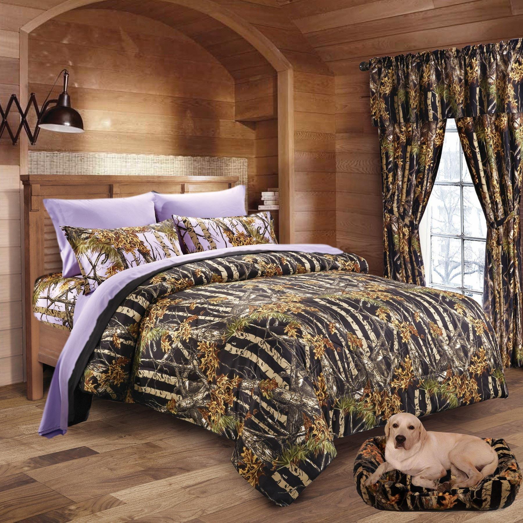 20 Lakes Woodland Hunter Camo Comforter, Sheet, Pillowcase Set (Queen, Black & Purple)