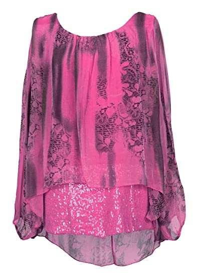 451c81269d6 TEXTURE Ladies Women Italian Lagenlook Long Sleeves Sequin Hem Snake Print  Silk Tunic Top Blouse One