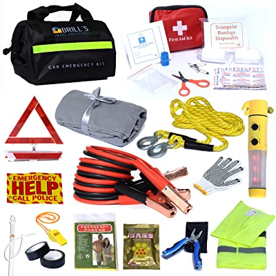 BRILL'S SMART SOLUTIONS Car Emergency Roadside Tool Kit- Auto Assistance kit Includes: First Aid kit, Warning Triangle, Jumper Cable, SOS Flashlight with Hummer, Warming Bags, Blanket and More: Automotive