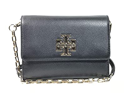 237e42abfb8 Tory Burch Britten Chain Wallet Women s Small Leather Handbag (Black)   Handbags  Amazon.com