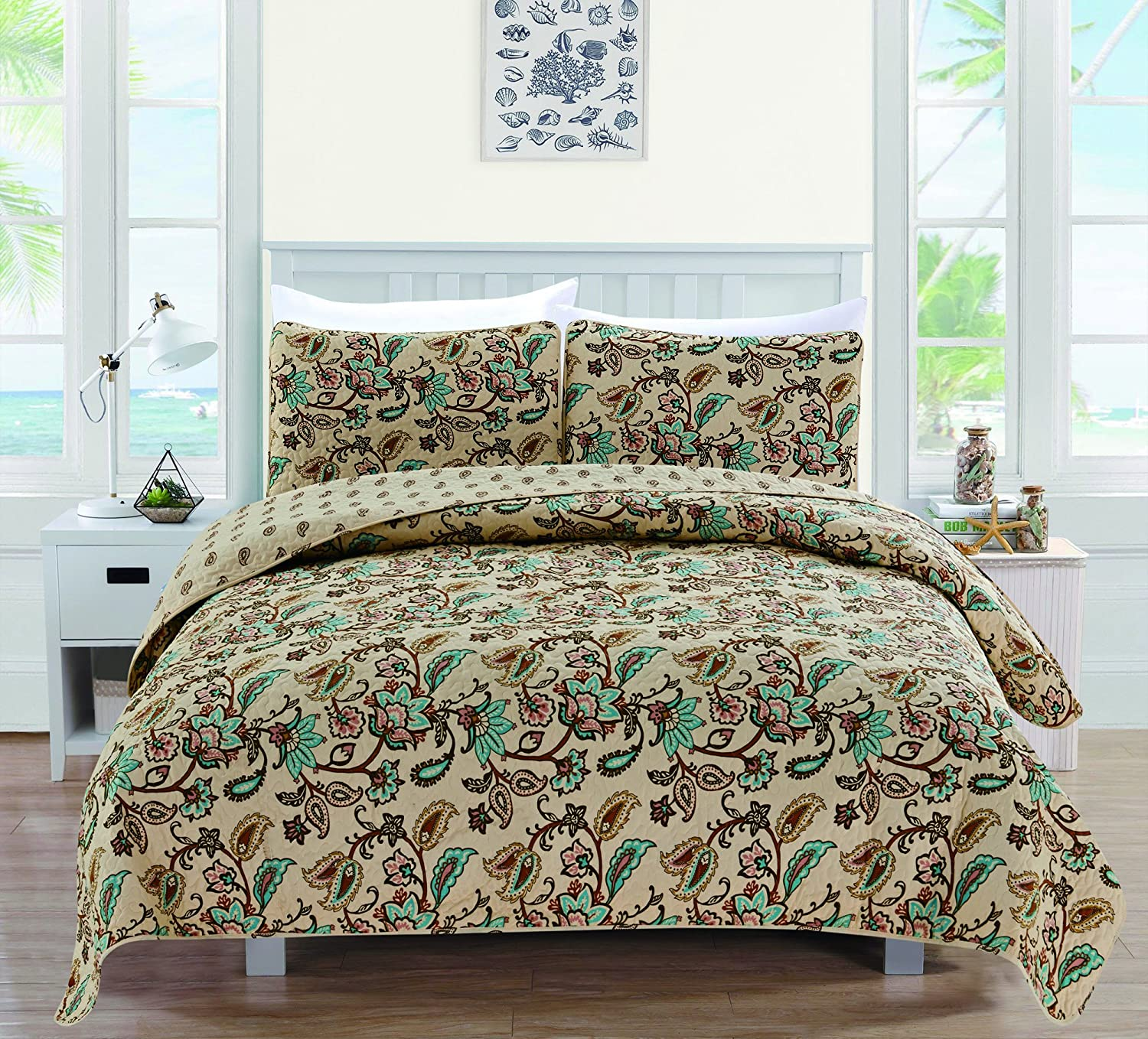 Miranda Collection 3-Piece Luxury Quilt Set with Shams. Soft All-Season Microfiber Reversible Bedspread and Coverlet with Floral Pattern. By Home Fashion Designs Brand. (Twin, Chocolate