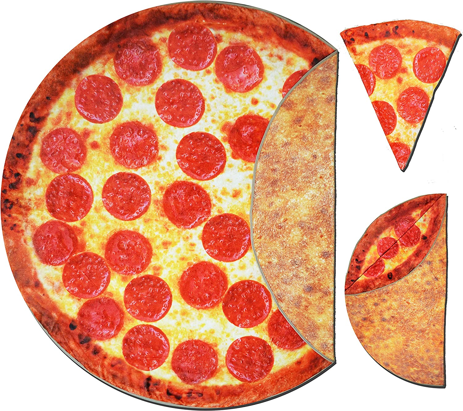 Pizza Blanket Pepperoni Double Sided Print with Crust, Calzone, Large Fleece 71