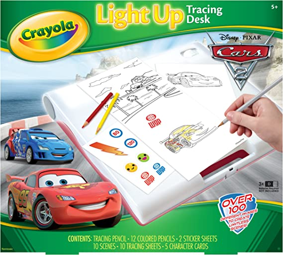 Amazon Com Crayola Cars 2 Light Up Tracing Desk Toys Games