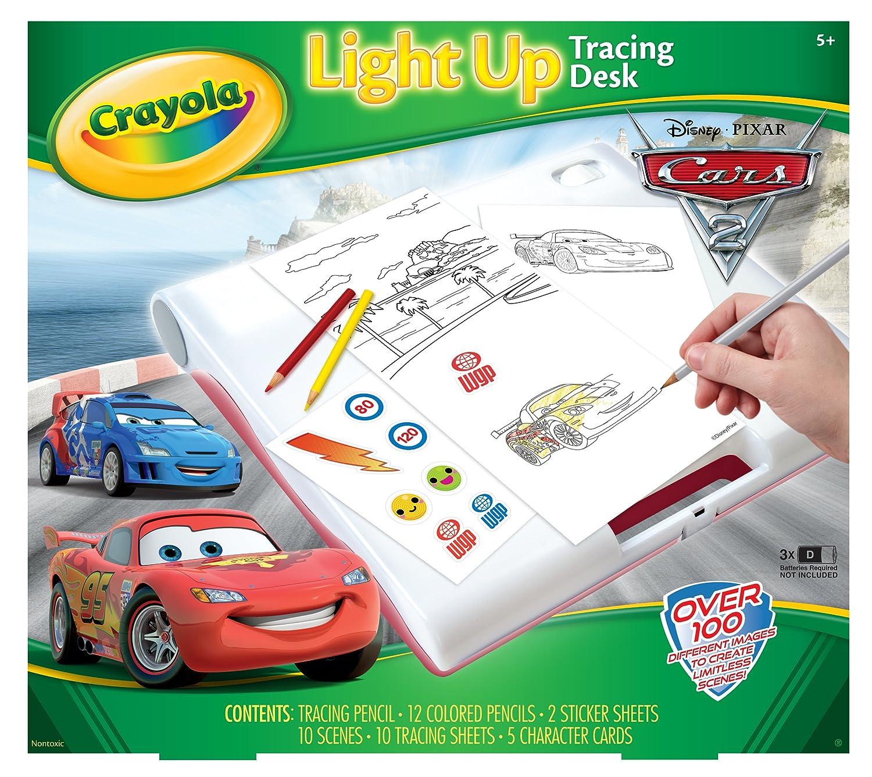 amazon com crayola cars 2 light up tracing desk toys games