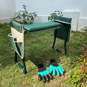 LAIKOU Garden Kneeler and Seat Bench with 2 Free Tool Pouch and 1 Gloves Protects from Dirt & Grass Stains, Foldable Stool for Ease of Storage - EVA Foam Pad - Sturdy and Lightweight