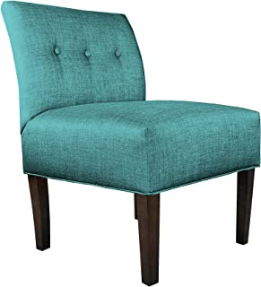 product image for MJL Furniture Designs Samantha Collection Fabric Upholstered Button Tufted Living Room Accent Guest Chair, Key Largo Series, Teal