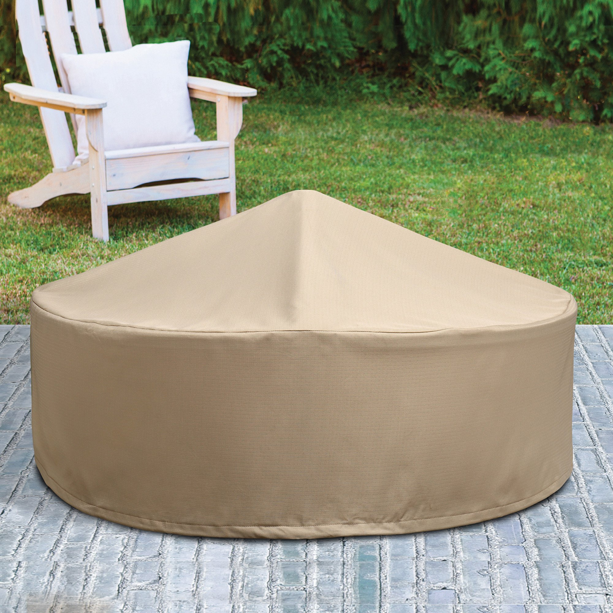 Patio Armor SF46618 260 Gsm Ripstop Pvc F Pit Firepit Cover, 40'' Round, Taupe