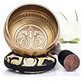 Tibetan Singing Bowl Set ~ Easy to Play with New Dual-End Striker & Cushion ~ Creates Beautiful Sound for Holistic Healing, M