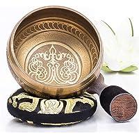 Silent Mind ~ Juego De Cuencos Tibetanos ~ Diseño Mantra de Bronce ~ Con Mazo De Superficie Doble Y Cojín De Seda…