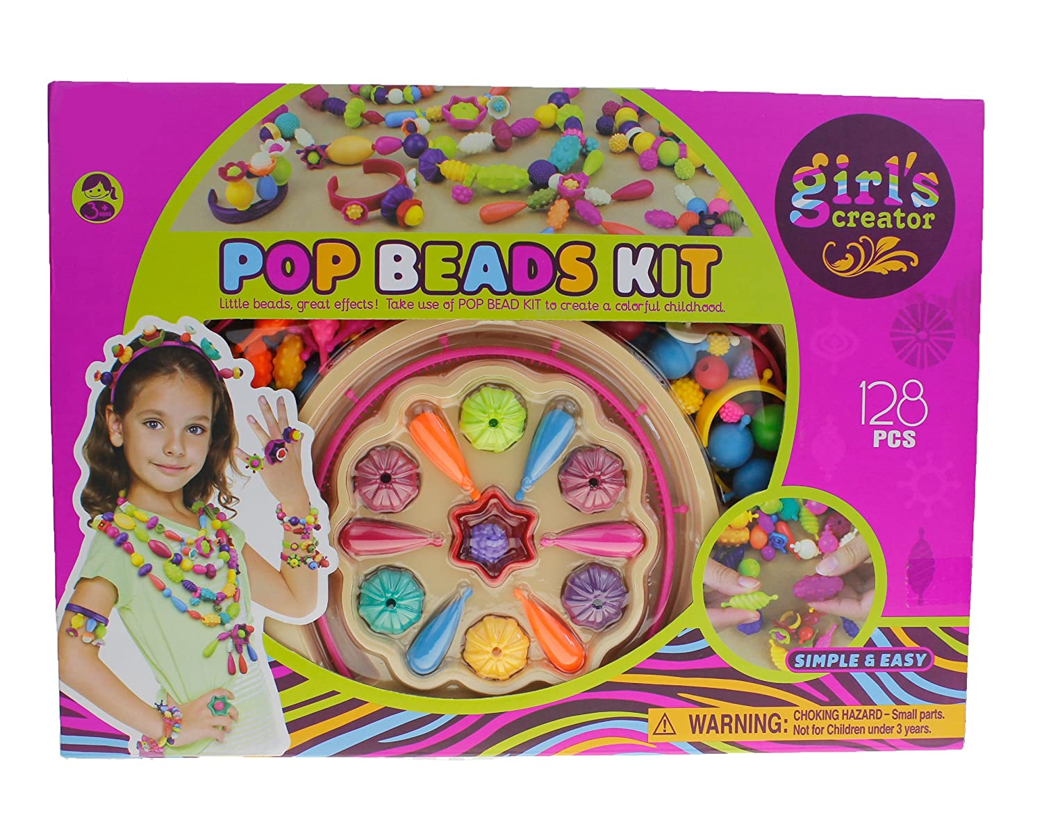 Style-Cary Girls Snap Pop Beads Toys - Art Crafts Gift DIY Jewelry Making Kit for Necklace and Bracelet for Girls Toy (Beautiful Jewelry) (128 PCs) Style-Carry