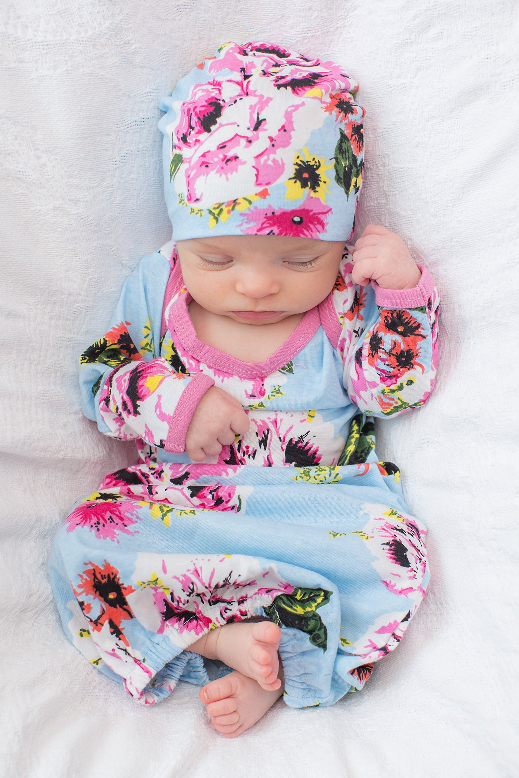 Baby Be Mine Newborn Gown and Hat Set Layette Romper Coming Home ...
