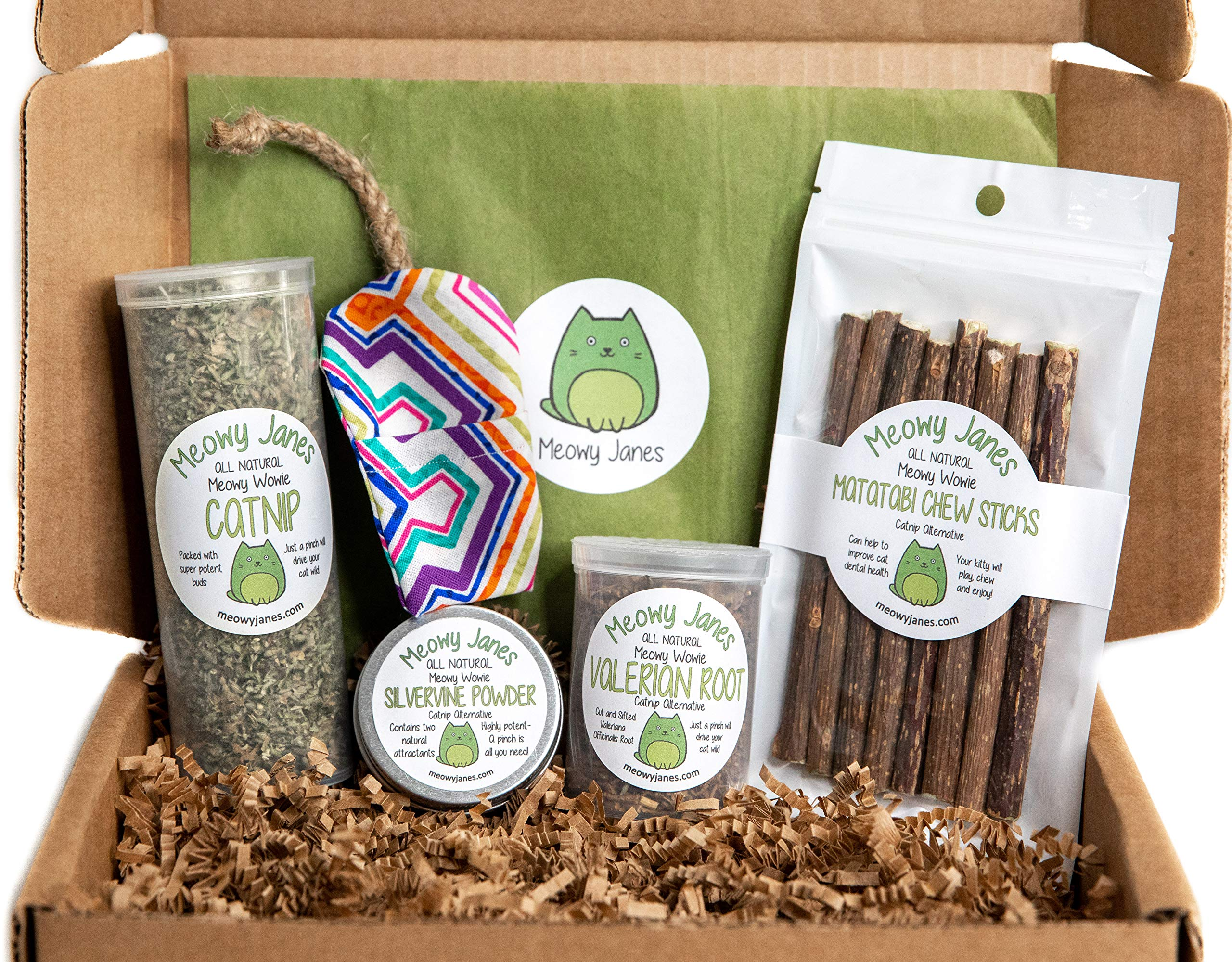 Catnip Alternative Variety Box with Handmade Refillable Mouse Toy - Catnip, Valerian Root, Silvervine Powder, Matatabi Sticks - Cat Toy and Cat Treat Sampler - Cat Gift Box by Meowy Janes