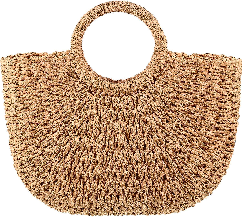 Straw Tote Bag Summer Beach Bag Handmade Straw Woven Handbag for Women Travel