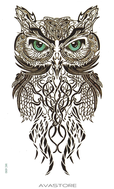 Tatuaje Temporal búho – Tatuaje efímero búho – avastore: Amazon.es ...